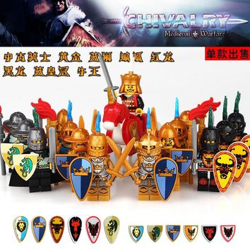 Single Sale 2017 Latest Medieval Castle Knight Dragon Knight With Shield Building Blocks Bricks Blocks Children  Toy