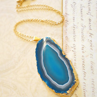 Glamorously Teal Agate Slice Necklace - Agate Geode - Geode Druzy Necklace - Druzy Jewelry
