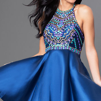 Short Racerback Homecoming Dress with Beaded Bodice