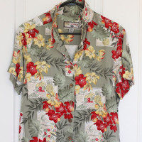 Hawaiian Shirt, Caribbean Joe, Tropical Shirt, Luau Party, Ladies Blouse, Button Up Shirt, Olive Green, Summer Blouse, Flowers, Size Large