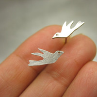 Sterling Silver Flying Birds Post Earrings