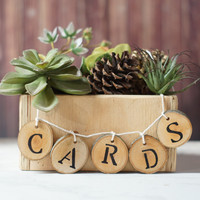 Log Slice Wedding Cards Table Sign, Log Slice Tag