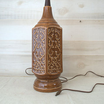 Mid Century Table Lamp, Danish Ceramic Lamp, Textured Brown Ceramic Lamp