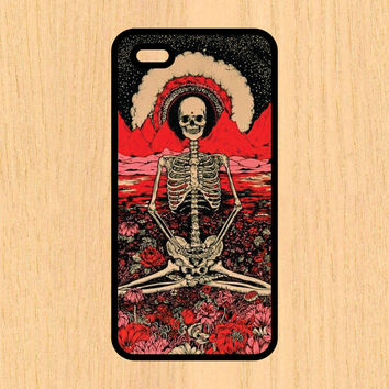 Indian Skeleton Sitting in Flowers Hipster Art Print Design Art iPhone 4 / 4s / 5 / 5s / 5c /6 / 6s /6+ Apple Samsung Galaxy S3 / S4 / S5 / S6