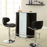 Home bar unit modern style black , white and chrome finish metal curved front bar unit with tempered frosted glass top