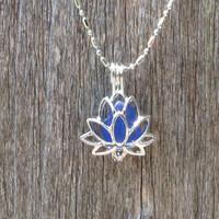 Sea Glass Lotus Flower Locket Cobalt Blue by Wave of LIfe