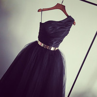 Black One Shoulder Tea Length Prom Dress with Gold Belt Latest Tulle Homeccoming Dress
