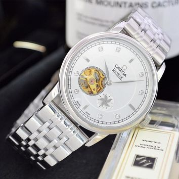 HCXX O048 Omega 25 Jewels Swiss Made Fashion Simple Steel Strap Watches White