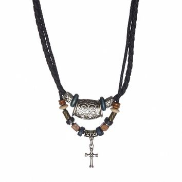 Black Leather Cross Necklace