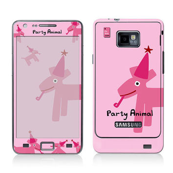 Galaxy Decal, Samsung Cover, Galaxy S2 i9100 Case Skin, PLUS Matching Wallpaper - Party Animal Pink - Dog Cute Funny Women Men Teen