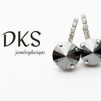 Black and White, Swarovski Bridal Earrings, Lever Backs, Crystal Accents, Jet Hematite, Drops, DKSJewelrydesigns, FREE SHIPPING