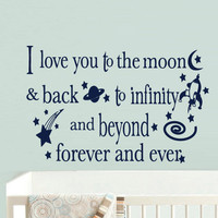 Wall Vinyl Sticker Decals Decor Bedroom Words Sign Quote Nursery Kids Baby I love moon (z902)