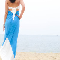 Color Block White Blue Strapless long maxi Sun dress all size