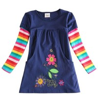 Spring Embroidery 100% cotton Long sleeve Shirt Dress