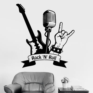 Vinyl Wall Decal Rock'n'roll Guitar Microphone Musical Stickers Unique Gift (ig4471)