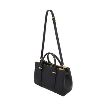 Bayswater Double Zip Tote in Black Shiny Goat | Family | Mulberry