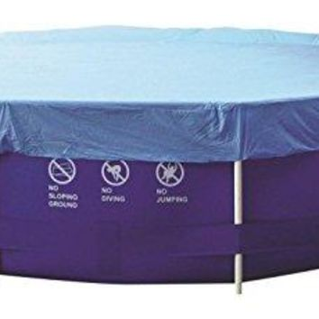 By PoolCentral 12.3' Durable Apertured Round Blue Swimming Pool Cover with Rope Ties