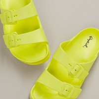 Lightweight Twin Buckle Straps Slide Sandals