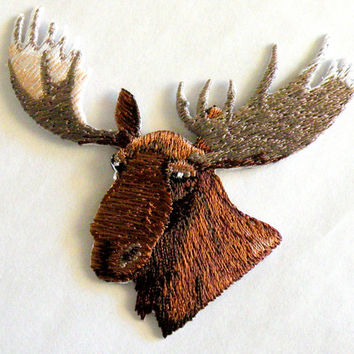 Moose Head Iron On Patch by Cedar Creek Patch Shop on Etsy