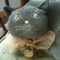 Made to Order Primitive Black Cat Halloween Pillow Grungy Home Decor OFG HaFair