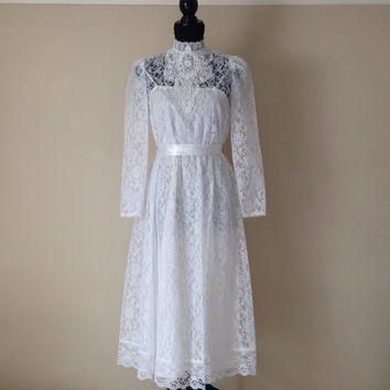 Vintage Lace Dress-White Wedding Dress-Victorian-White Lace-High Collar-Midi Dress-Bridal-Sheer-Romantic Dress-Summer-9/10-Bridal Party