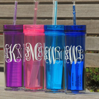 monogrammed cup, skinny tumbler, tall tumbler, plastic tumbler, personalized cup, bridesmaid cup, bachelorette party cup, wedding tumblers