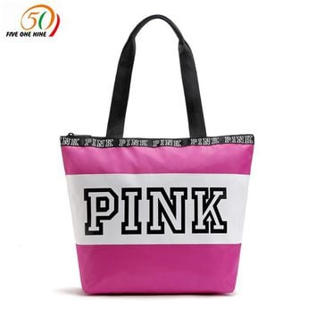 Victoria Secret PINk Weekend Travel Tote Bag & Cosmetics Bag Pink WATERPROOF VS bag