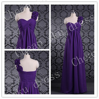 2014 Bridesmaid /Party/Evening/Prom/Formal Dress A-Line Sweetheart Handmade Flower One-shoulder Chiffon Lace-upZipper Ruffle Floor-length