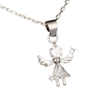 Quality Cubic Crystal Angel Wings, Girl Pendant Necklace