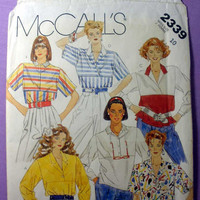 """Pullover Tops, Long or Short Sleeves McCall's 2339 Misses' Size 10 Bust 32 1/2"""" Vintage 1980's Sewing Pattern"""
