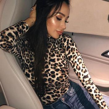 New Brown Leopard Pattern High Neck Long Sleeve Casual Fashion T-Shirt