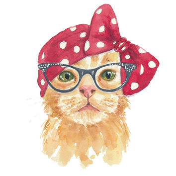 Cat Watercolor - 5x7 PRINT, Orange Tabby Illustration, Retro Cat, Open Edition, Cat in Glasses