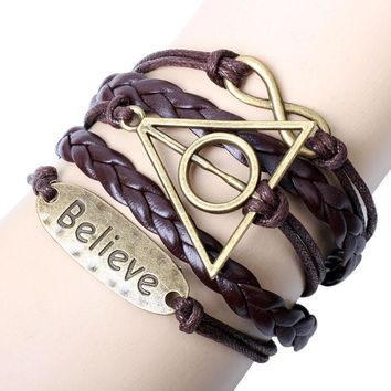 FashionTriangle Round Believe Braided Wrist Bracelet Leather Jewelry