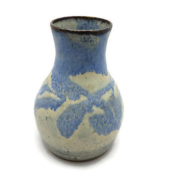Art Pottery Vase - Salt Glaze, Signed, Blue White
