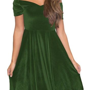 Green Velvet Off Shoulder Pleated Midi Skater Dress