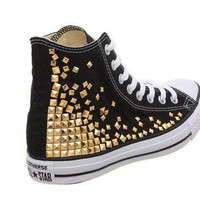 CREYUG7 Studded Converse, Converse High Top with Gold Pyramid studs by CUSTOMDUO on ETSY
