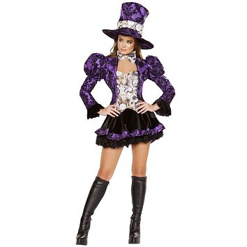 Purple Ruffle Mad Hatter Girl Halloween Costume