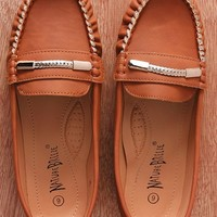Natures Breeze Fancy Footwork Faux Leather Chain Accent Slip On Loafers Mindie-21 - Camel