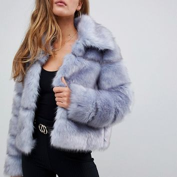 Missguided Premium Crop Pelted Faux Fur Jacket at asos.com
