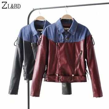 Trendy ZL&BD Fashion Denim Patchwork Contrast Color Jeans Jacket New Women Autumn Winter PU Leather Motor Bomber Jacket and Coat ZA921 AT_94_13