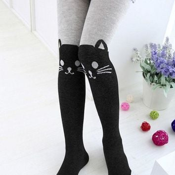 Spring autumn Girls cartoon cat cute pantyhose kids cotton pantyhose