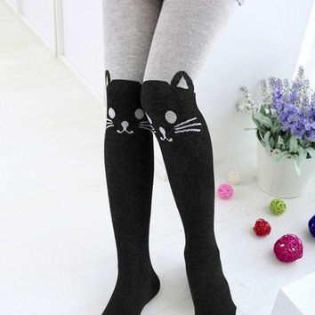 Girls Cartoon Cat Pantyhose