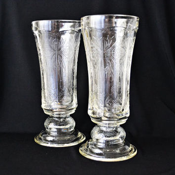 Vintage Hurricane Candle Holder Indiana Glass Madrid Depression Glass Pair
