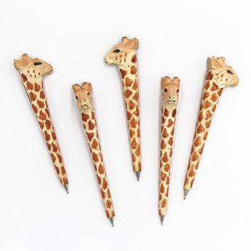 Coloffice Handmade Creative Wood Carving Forest Animal Orange Giraffe Ballpoint pen Office School Writing Supplies Party Favor