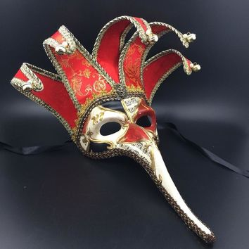 Black/Red Five Horn Long Nose Phantom Opera Venetian Mask with Bell Handmade Full Face Cosplay Halloween Mask Party Props