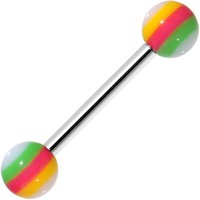 14 Gauge Stainless Steel Green Pink Yellow Ball Barbell Tongue Ring