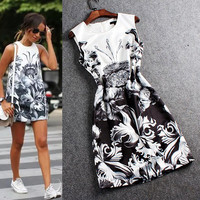 Black And White Printed Sleeveless Shift Mini Dress