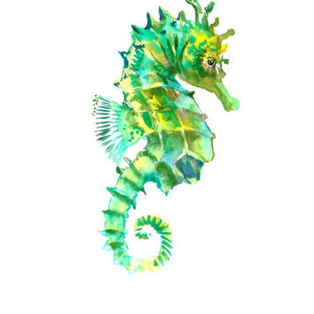 Green Sea Horse, Original watercolor painting, 12 X 9 in olive green turquoise yellow green bach nautical art