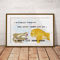 Ice age, Sid and Diego Print, Funny Print, Quote, Instant download, Ice age Poster, Home decor, nursery decor, wall art print, watercolor