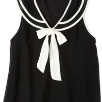 Wurl Sailor Neck Sleeveless Top BLACK Sm